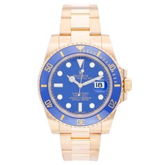 Rolex Gold Submariner Blue Dial Automatic Wristwatch Ref 116618