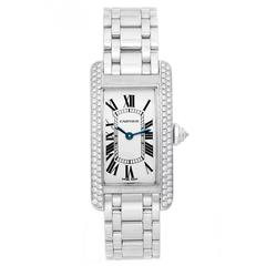 Cartier Ladies White Gold Diamond Tank Americaine Quartz Wristwatch Ref WB7018L1