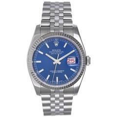Rolex Stainless Steel Blue Dial Datejust Wristwatch Ref 116234