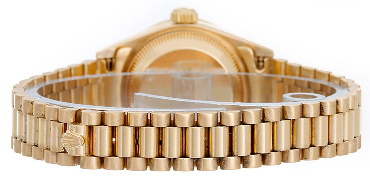 Rolex Lady's Yellow Gold Diamond President Wristwatch Ref 69178 2