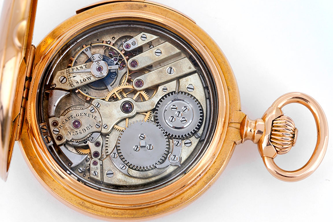 Henry Capt Rose Gold Quarter Hour Repeater Hunting Case Pocket Watch For Sale at 1stdibs