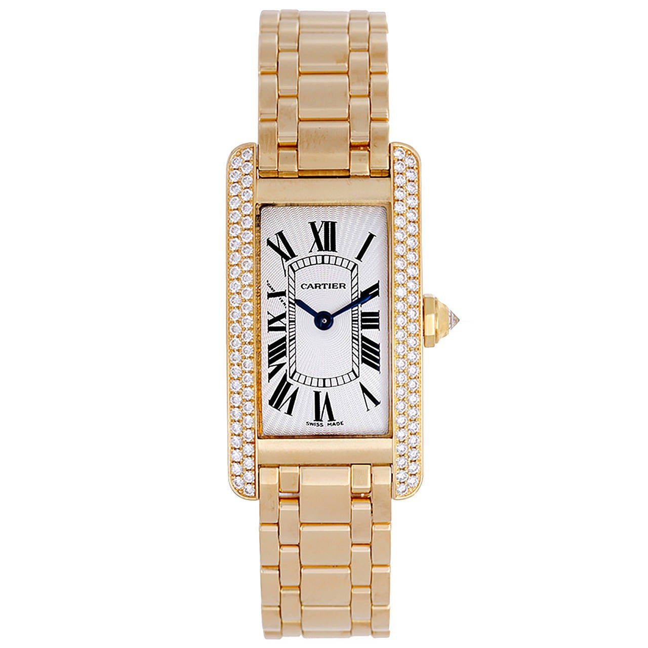 Cartier Lady's Yellow Gold Diamond Tank Americaine Wristwatch Ref WB7012K2