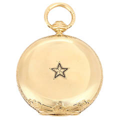 Charles E. Jacot Yellow Gold Engraved Pocket Watch 19th Century