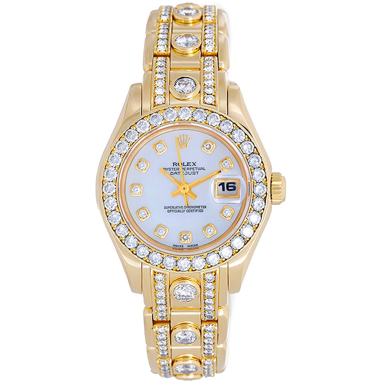 Rolex Lady's Yellow Gold Masterpiece Pearlmaster Diamond Wristwatch Ref 69298