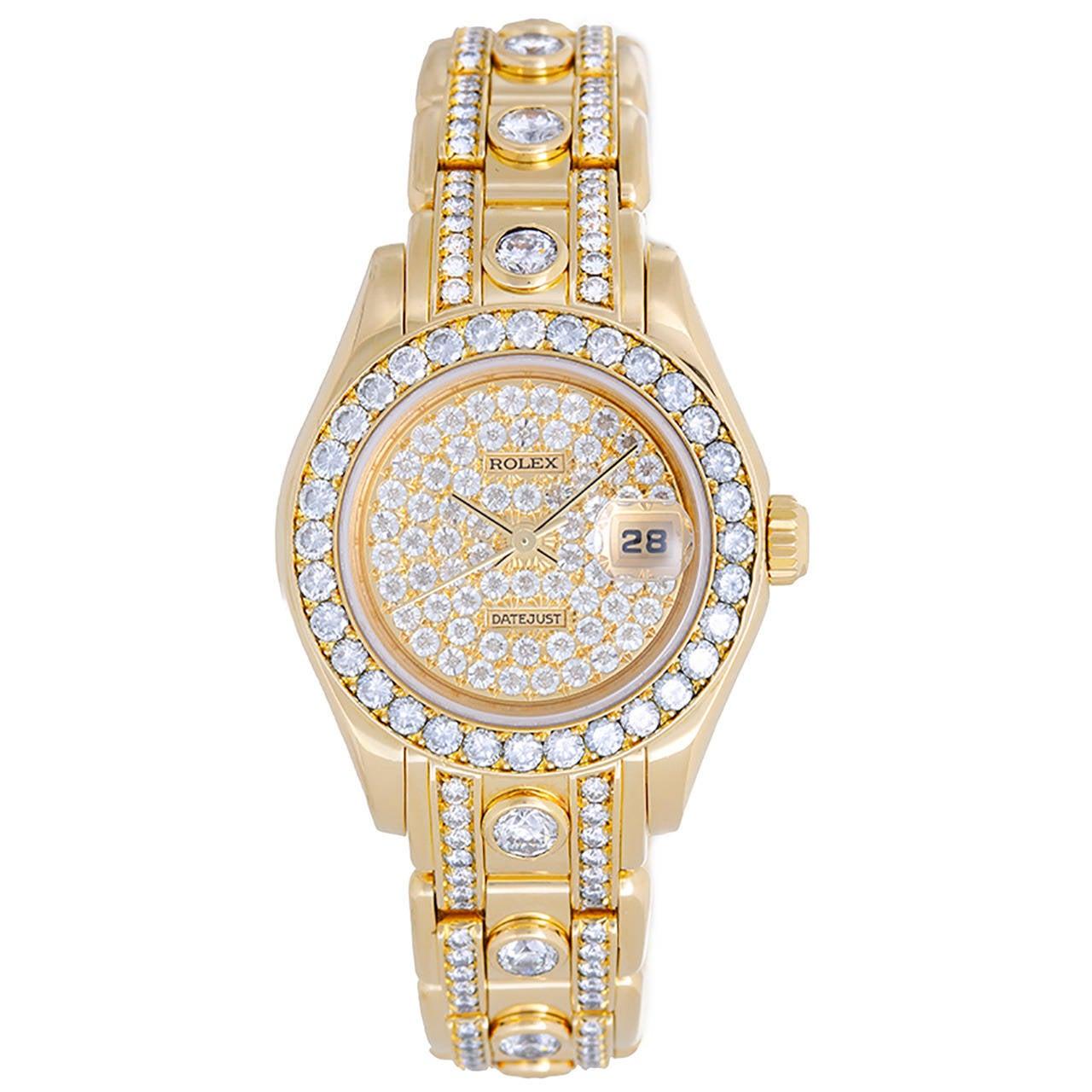 Rolex Lady's Yellow Gold Diamond Masterpiece Pearlmaster Wristwatch Ref 69298