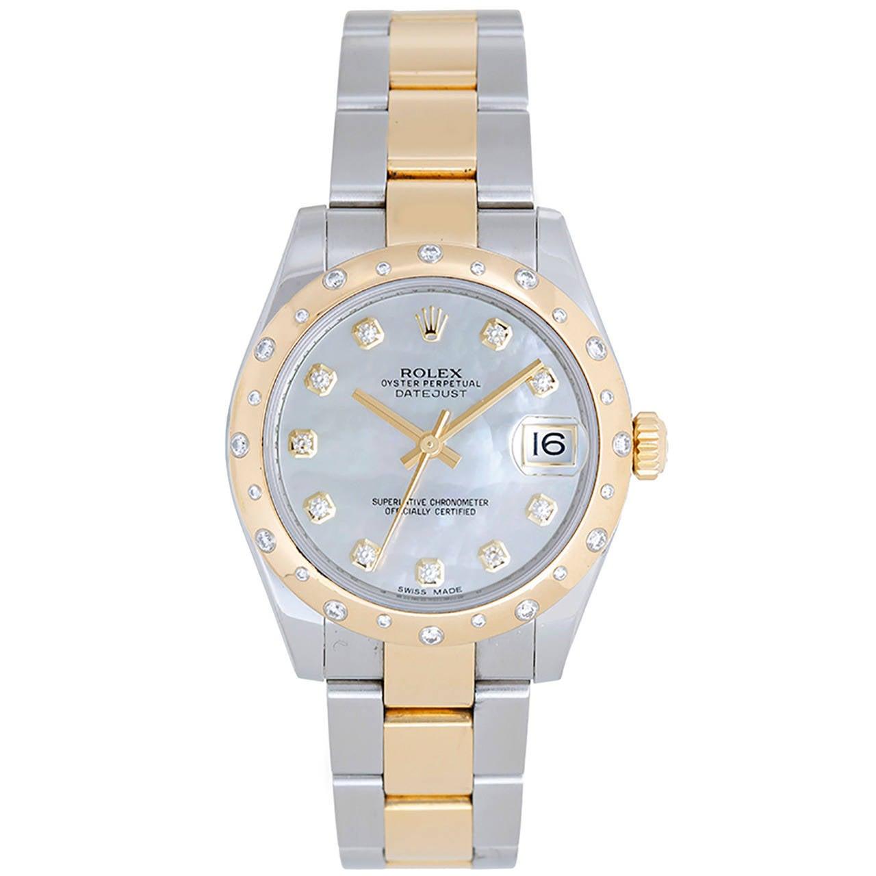 Rolex Yellow Gold Stainless Steel Datejust Diamond Dome Bezel Wristwatch