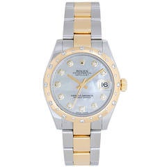 Rolex Yellow Gold Stainless Steel Datejust Diamond Dome Bezel Wristwatch