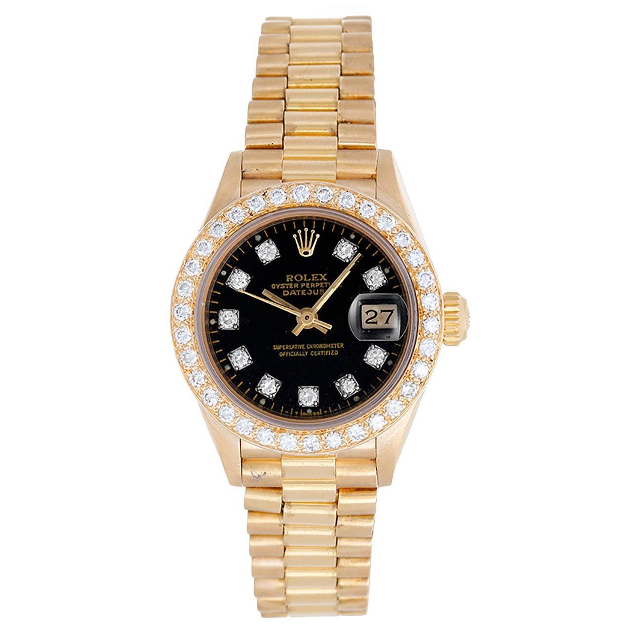 Rolex Lady's Yellow Gold Diamond President Wristwatch Ref 69178