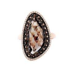 Amazing Smoky Quartz Diamond Gold Ring