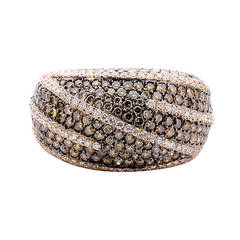 Beautiful Brown and White Diamond Rose Gold Ring