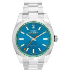 Rolex Stainless Steel Blue Milgauss Oyster Automatic Wristwatch Ref 116400 GV