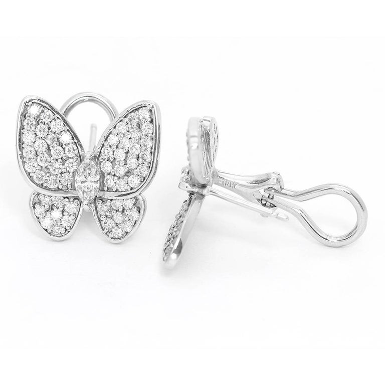 White Gold Diamond Butterfly Earrings For Sale at 1stdibs