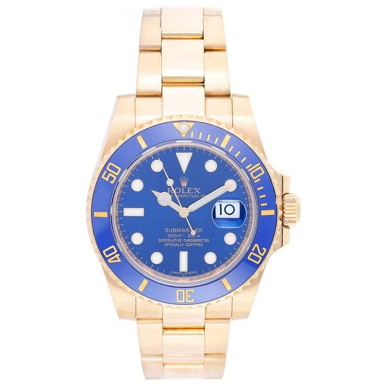 Rolex Yellow Gold Submariner Blue Dial Automatic Wristwatch Ref 116618