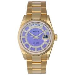 Rolex Yellow Gold Diamond Lilac Stone Carousel President Day-Date Wristwatch