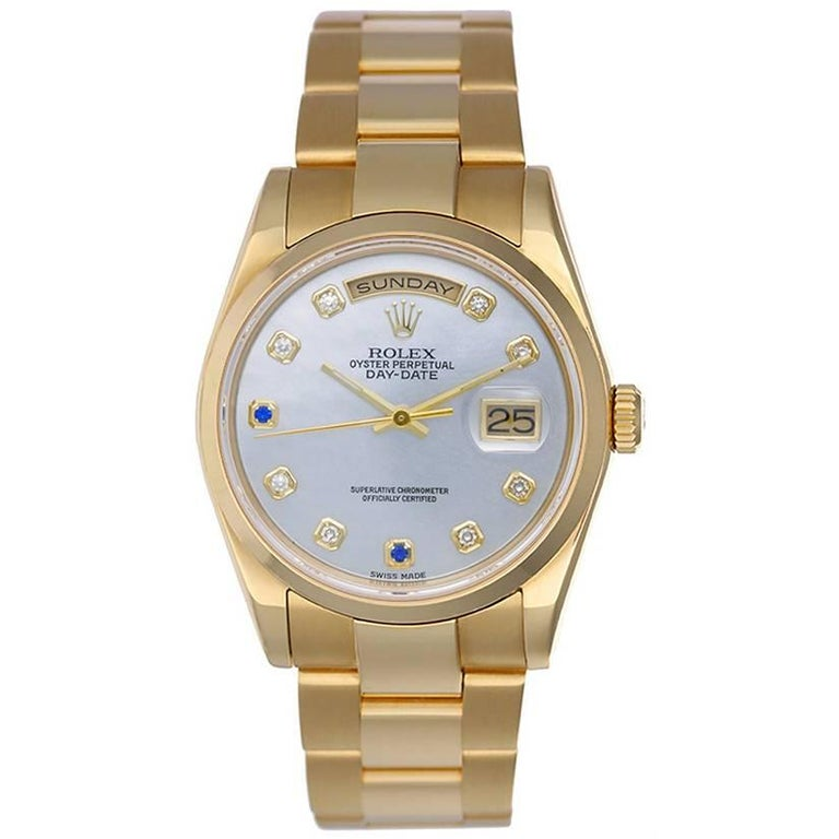Rolex Yellow Gold Diamond President Day-Date Automatic Wristwatch