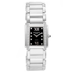 Patek Philippe Ladies 24 Stainless Steel Diamond Quartz Wristwatch