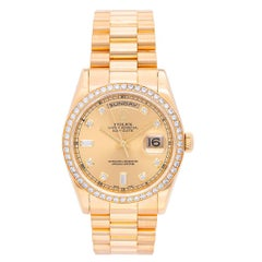 Rolex Yellow Gold Factory Diamonds President Day-Date Wristwatch Ref 11838