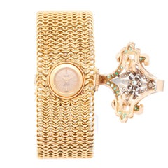 Piaget Ladies Yellow Gold Diamond Emerald One of a Kind Custom Manual Wristwatch