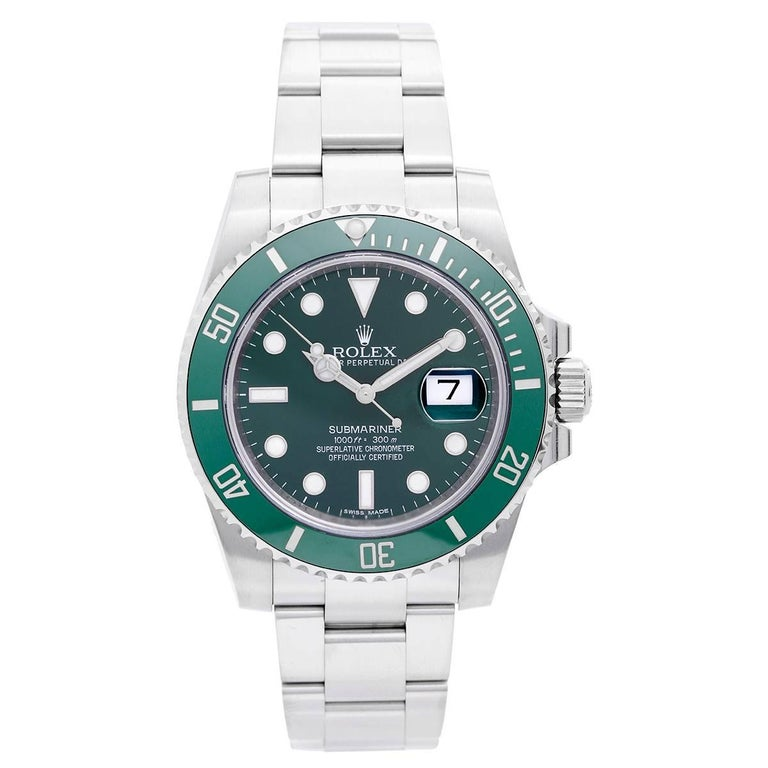 Rolex Stainless Steel Submariner Green Dial Automatic Wristwatch For Sale