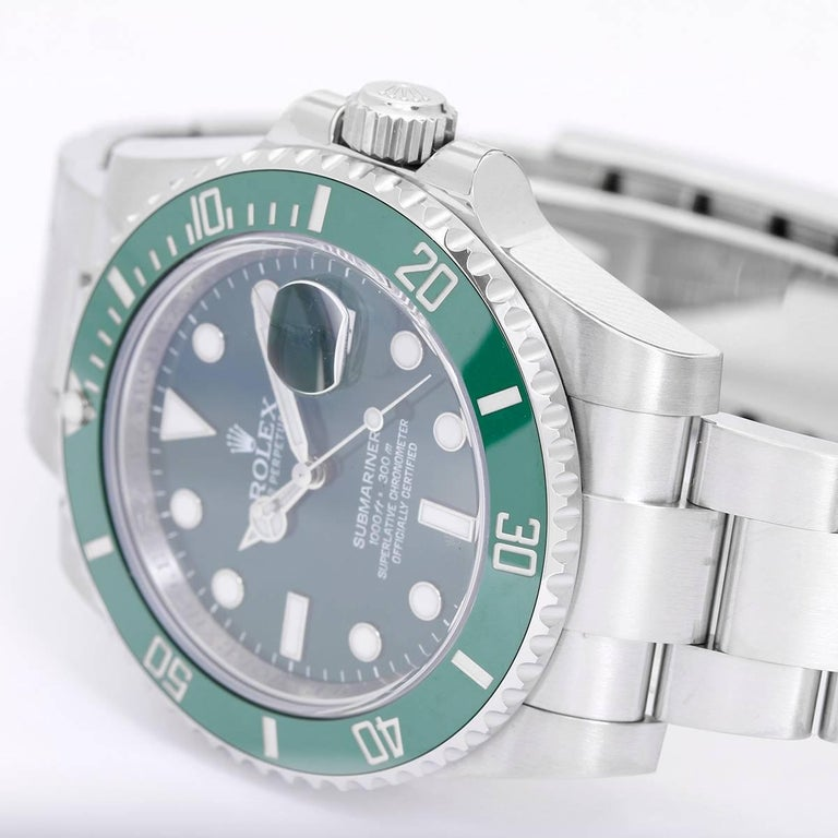 Rolex Submariner Men's Stainless Steel Green Dial Watch 116610LV -  Automatic winding, 31 jewels, pressure proof to 1,000 feet. Stainless steel case with green time-lapse Ceramic Cerachrom bezel (40mm diameter). Green dial with luminous markers;