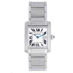 Cartier Stainless Steel Tank Francaise Midsize Quartz Wristwatch