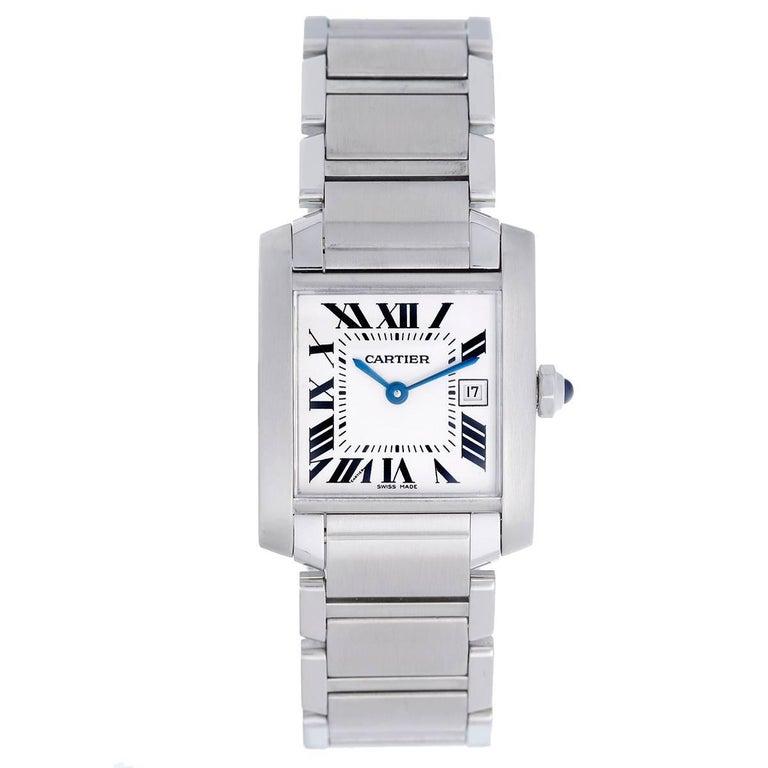 Cartier Stainless Steel Tank Francaise Midsize Quartz Wristwatch 1
