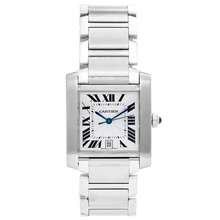 Cartier Stainless Steel Tank Francaise Automatic Wristwatch Ref W51002Q3