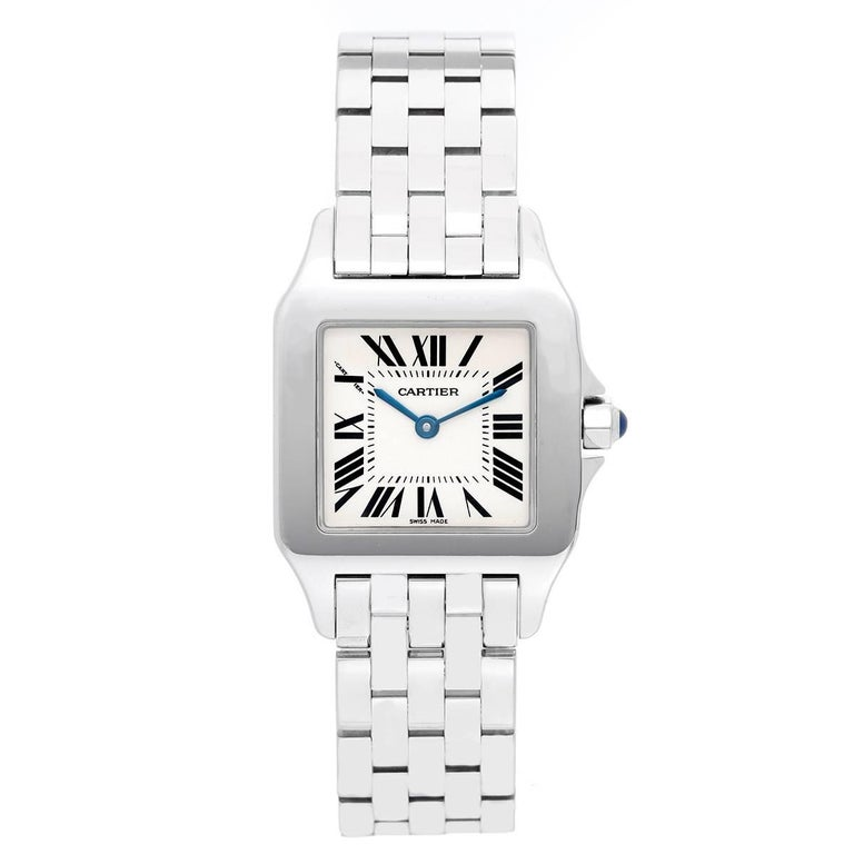 Cartier Ladies White Gold Stainless Steel Santos Demoiselle Quartz Wristwatch For Sale