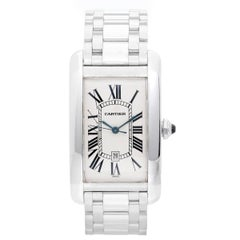 Cartier White Gold Tank Americaine Automatic Wristwatch Ref W26055L1