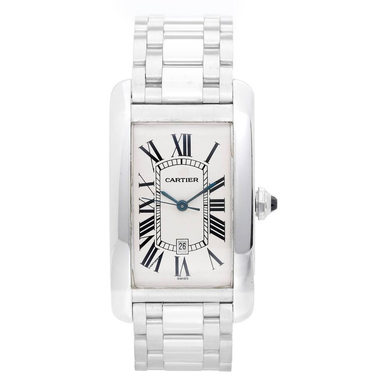Cartier White Gold Tank Americaine Automatic Wristwatch Ref W26055L1 For Sale