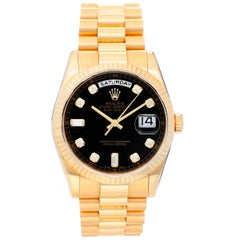 Rolex Yellow Gold President Day-Date Factory Black Dial Automatic Wristwatch