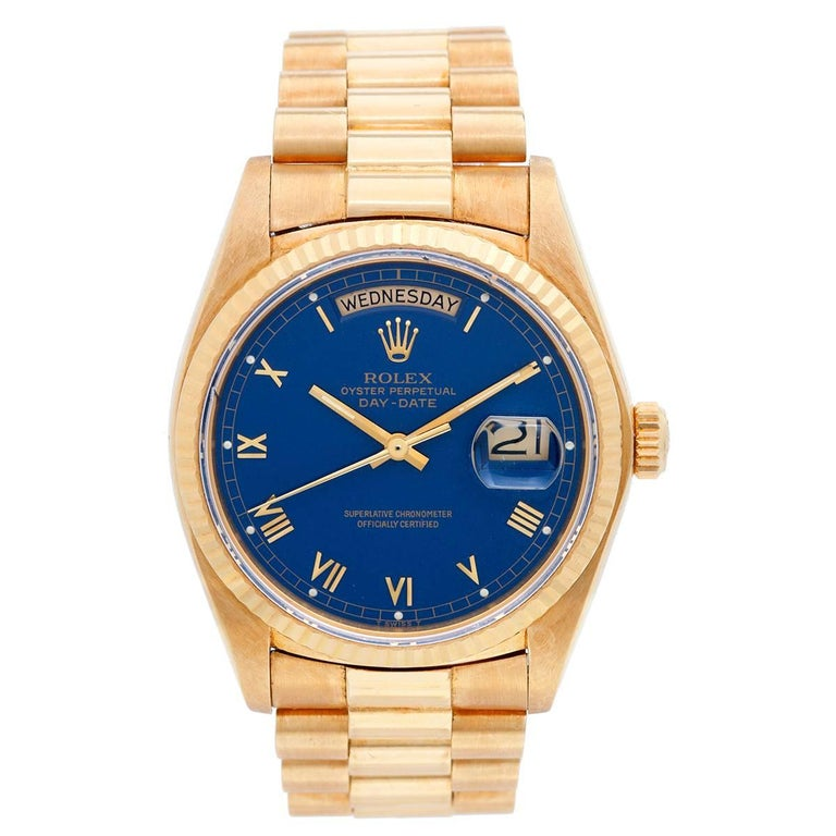 Rolex Yellow Gold Blue Dial President Day Date Automatic Wristwatch Ref 18038
