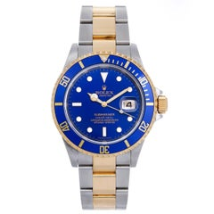 Rolex Yellow Gold Stainless steel Submariner Blue Dial Automatic Wristwatch