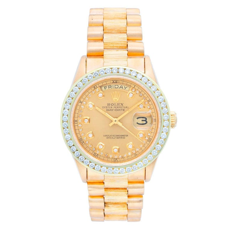 Rolex Yellow Gold President Day Date Barked Finish Automatic Wristwatch