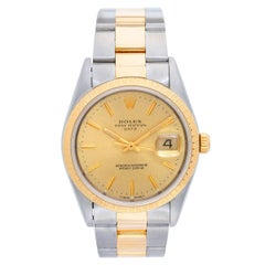 Rolex Stainless Steel Yellow Gold Date Champagne Dial Automatic Wristwatch 15223