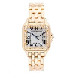 Cartier Yellow Gold Diamond Bezel Panther Quartz Wristwatch