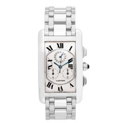 Cartier White Gold Tank Americaine Chronograph Quartz Wristwatch Ref W260334