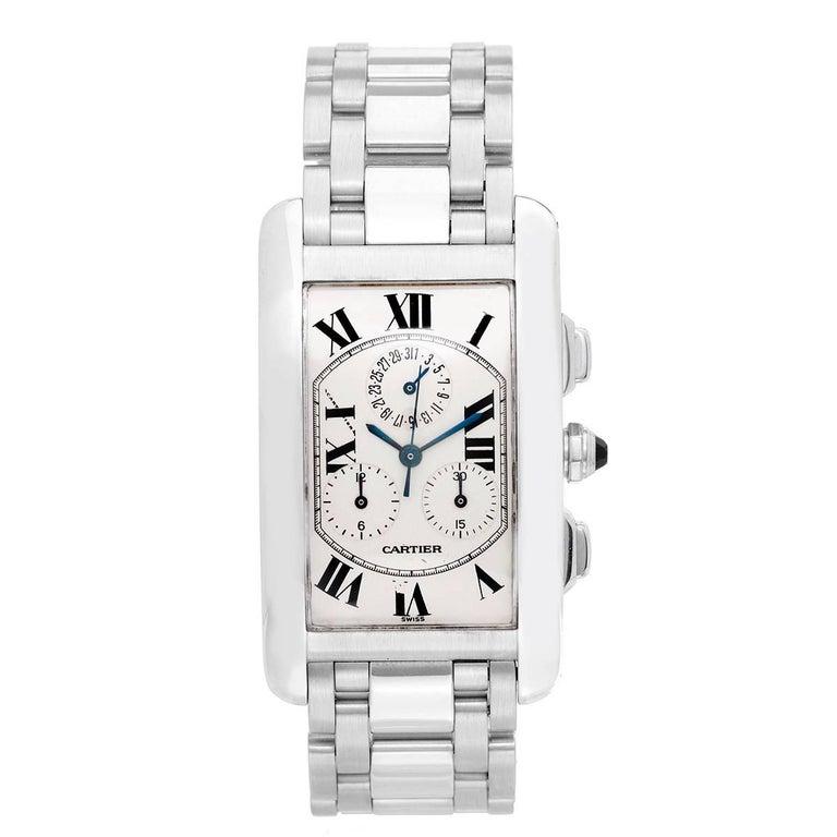 Cartier White Gold Tank Americaine Chronograph Quartz Wristwatch Ref W260334