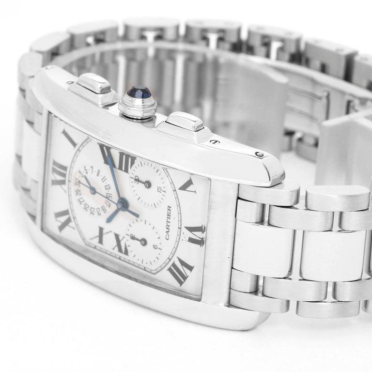 Cartier White Gold Tank Americaine Chronograph Quartz Wristwatch Ref W260334 2