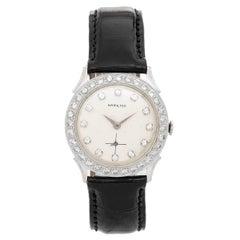 Hamilton White Gold Diamond Bezel Vintage Manual Wristwatch, Circa 1950s