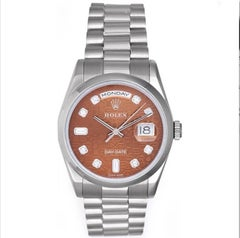 Rolex Platinum President Day-Date Havana Dial Automatic Wristwatch Ref 118206