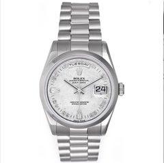 Rolex Platinum President Meteorite Dial Day-Date Wristwatch Ref 118206