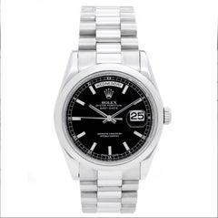 Rolex Platinum President Black Dial Day-Date Wristwatch Ref 118206
