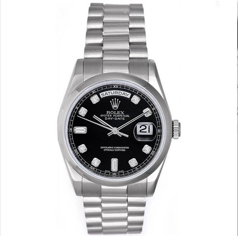 Rolex Platinum Diamond Dial President Day-Date Wristwatch Ref 118206