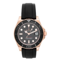 Rolex Rose Gold Everose Yacht-Master Black Rubber Strap Automatic Wristwatch