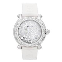 Chopard White Gold Stainless Steel Happy Sport Snowflake Quartz Wristwatch