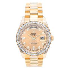 Rolex Yellow Gold Diamond President Day-Date II Automatic Wristwatch Ref 218348