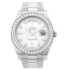 Rolex White Gold Diamond President Day-Date II Automatic Wristwatch Ref 218349