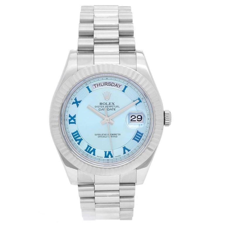 Rolex White Gold President Day-Date II Glacier Dial Automatic Wristwatch