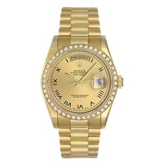 Rolex yellow gold President Champagne Dial Day-Date Automatic Wristwatch ref 118